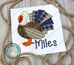 Raggedy Turkey Boy Applique Design ~ Thanksgiving Turkey